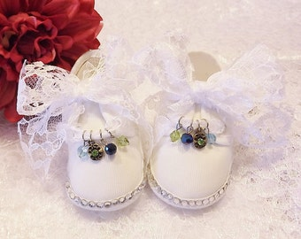 Handmade Party New Born Baby Shoes Lace Shoelaces Bling Rhinestones Sparkly Charms Beautiful