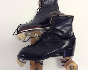 Vintage Black Leather Roller Skates in Metal Case 6/8