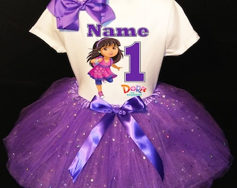 Dora The Explorer***With NAME*** 1st first 1 Birthday Dress Fast Shipping party Shirt and Purple Tutu outfit Personalized