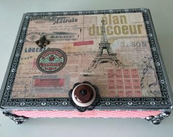 Paris Travel  Memory Box French Box Memory Box Jewelery Box Keepsake box Altered Cigar Box