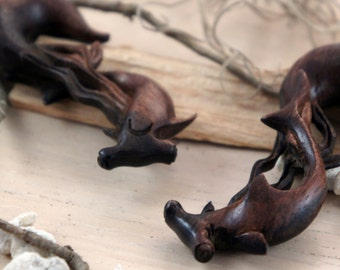 "Super Sale! Ebony Wood Hammerhead Shark Hangers (Pair) 6mm (2G) 8mm (0G) 10mm (00G) 12mm (1/2"") 14mm (9/16"") 16mm (5/8"")"
