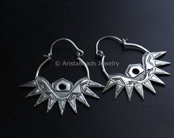 FREE SHIPPING  Tribal White Brass Hoop Earrings Large, Indian Surya Earrings, Brass Indian Sun God Earring, Spike Earrings