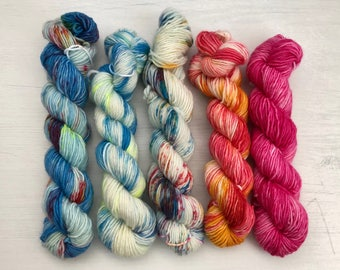 Hand dyed yarn, single ply yarn, mini skeins, knitting yarn, merino wool, speckled, colorful