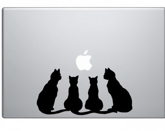 Cats decal, cats sticker, cats laptop decal, decorative wall sticker, sitting cats macbook sticker, car decals, crazy cat lady sticker