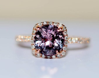 Rose Gold Engagement ring. Maroon Sapphire ring. 2.08ct cushion sapphire 14k RG diamond ring by Eidelprecious