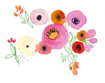 Garden -  Watercolor Painting - Abstract Floral - Pink - Magenta - Illustration - 11x14 Giclee Print - Home Decor