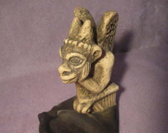 "Vintage Gargoyle Figurine    Vintage Pottery Gargoyle Ashtray Figure   6 1/2"" Tall Figure"
