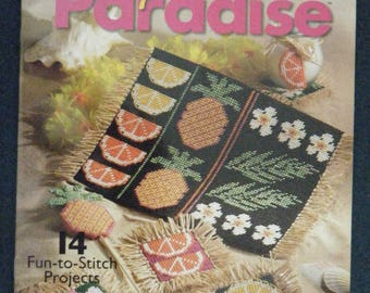 PLASTIC CANVAS by Carol Wilson Mansfield.  Tropical Paradise.  Fourteen Fun-to-Stitch projects. Coasters, fridgies,  Shirt frame,