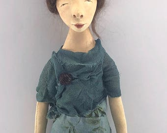 Art Doll wall hanging cloth and clay ooak sculpted beehive hair go go girl