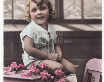 Cute Blond Girl Sitting on Table c1910s retro vintage children portrait photo postcard