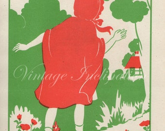 1920s Nursery RED RIDING HOOD, Book Plate chart color illustration