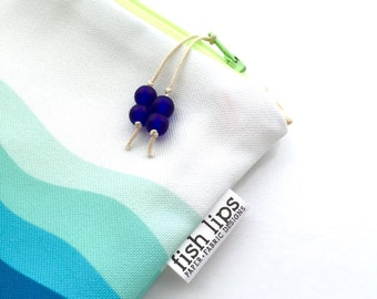 Waves Bikini Bag, Blue Water Resistant Wet Bag, Beach Bag Zipper Pouch, Recycled Canvas, Wipe-able Handmade Gift for Mom, Diaper Mess Bag
