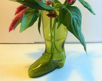 "Vintage Green Glass Boot Vase, 7.5"" tall"
