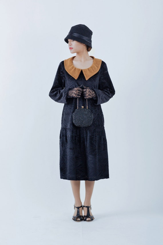 1920s Day Dresses, Tea Dresses, Mature Dresses with Sleeves Black 1920s burnout velvet dress with long sleeves and puritan collar black $130.00 AT vintagedancer.com