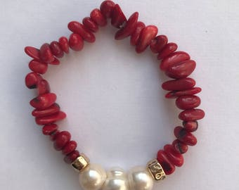 Red Coral & Pearls Bracelet