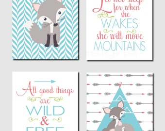 Woodland Nursery Art, Red, Teal, Aqua, Let Her Sleep, All Good Things Are Wild and Free, Fiona, Gray Fox, Set of 4 Prints or Canvas