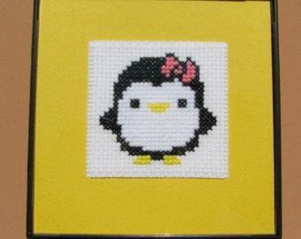 Handmade Girl Penguin Cross Stitch in 4X4 Black Frame