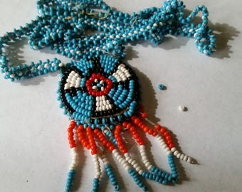 Indian Beadwork Thunderbird Medallion Necklace, old leather back, broken chain as is for bead supply