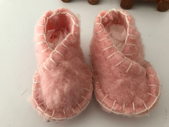 Handmade cute pink baby shoes or crib shoes made from vintage blankets, size 0-3 months