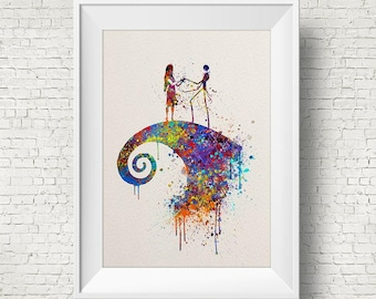 The Nightmare Before Christmas inspired, Jack and Sally, Colorful, Watercolor print,Nursery art, Kids Room Decor, Poster, print