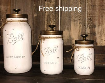 3 Piece Rustic Distressed Mason Jar Kitchen Canister Set. Free Shipping!  (Limited Time