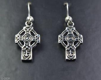 Celtic Cross Sterling Silver Earrings