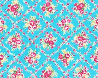 Flower Sugar 2015 Fall Collection Cotton Fabric Lecien 31269-70 Blue Floral Bouquet In Floral Vine Diamonds