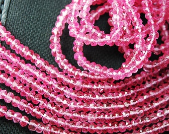 "Pink Mystic Topaz Faceted Rondelle Gemstone Spacer Loose Beads Strand 14"" 3.5mm - Jewelry Making"