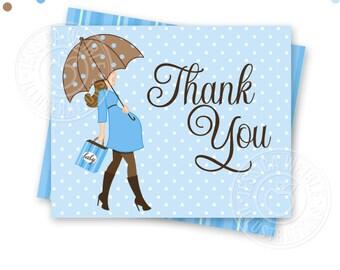 Blue Boy Baby Bump Thank You Card - BRUNETTE - Printable Baby Shower Thank You Card - Printable Thank You - Baby Shower Thank You