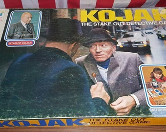 KOJACK Board Game, 1975 Detective Board Game by Milton Bradley, Vintage Retro 1970s Board Game