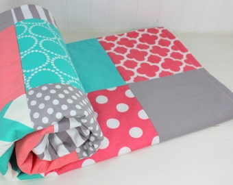 Baby Blanket, Patchwork Quilt, Minky Baby Blanket, Baby Shower Gift, Nursery Decor, Coral Pink Teal Blue Turquoise Gray White, Baby Girl