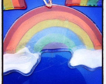 Fused Glass Rainbow with Clouds