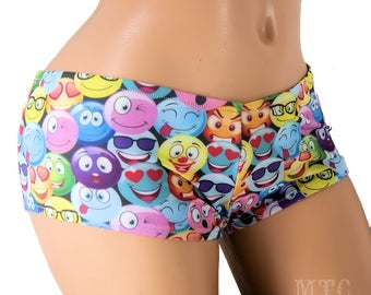 Neon Smiley Face Emoji Boy Booty Shorts Adult All Sizes- MTCoffinz (Choose Standard Boy Shorts or Lo Rise)