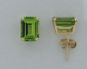 Natural Peridot Stud Earrings Solid 14kt Yellow Gold. Emerald Cut. August Birthstone