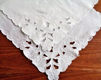 Vintage Hankies, Set of 2, Solid White Wedding Hankies, Drawn Embroidery, Unused