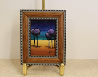 Miniature purple tree landscape painting, framed miniature tree original, framed wall art