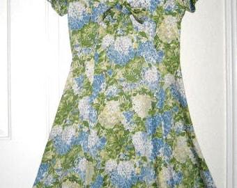 40s Cotton Floral Print Day Dress - Short Sleeve - Side Zipper Vintage