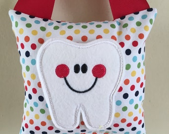Tooth Fairy Pillow- Rainbow Polka Dot with Red Ribbon - Kids Pillow - Kids Gift