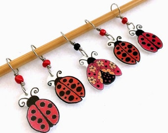 ladybug stitch markers, colorful, whimsical knitting accessory, fun gift for knitters