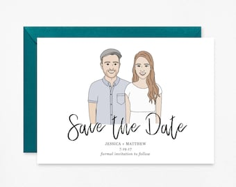 Custom Save The Date, Save The Date Portrait, Custom Digital Portrait - Wedding Invitations, Save the Dates, Unique Save the Date