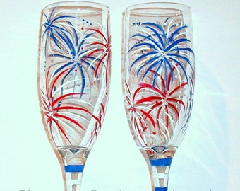 Hand Painted Champagne Flutes Wedding Glasses July Fourth Fireworks Set of 2 - 6 oz. Toasting Flutes New Years Eve Independence Day July 4th
