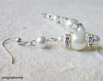 White Pearl Sterling silver Earrings, Wedding jewelry, Rhinestone Chandelier Earrings,