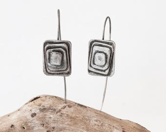 Patina jewelry earrings Gift for her Dangle drop patina Art shape earrings Rectangle jewelry Dangle metalwork Rustic drop jewelry silver