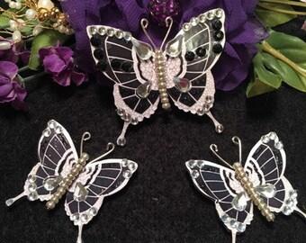 Deco Dexter 3D Gems Black Silver Beaded Body Butterflies DarlingArtByValeri Scrapbooking Embellishment Mini Album Card Hair Adornments