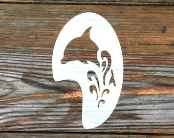 Large Dolphin Waves Face Painting Stencil approx 12cm x 8cm Washable Reusable