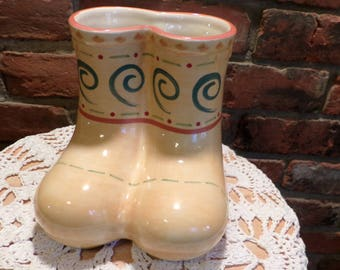 Boots Planter in Villa Della Luna by Pfaltzgraff, boot planter, Yellow planter, Planter, boot décor, kitchen décor, Morethebuckles