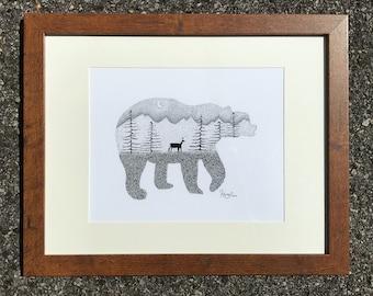 "Pointillism drawing of ""Adirondack Black Bear"""