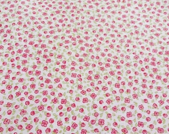 Cotton Floral Fabric -  pink Floral Flowers Cotton Cloth Fabric 1 x 1,60 m (39,37x63 inch)