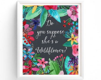 Nursery Prints, Printable Do You Suppose She's A Wildflower?, Chalkboard,  Nursery Print, Instant Download