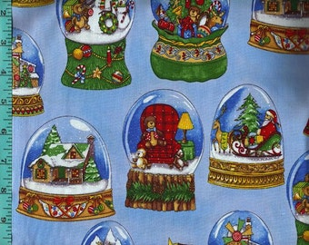 Snowglobes Fabric, Cotton Quilting Crafting Home Decor